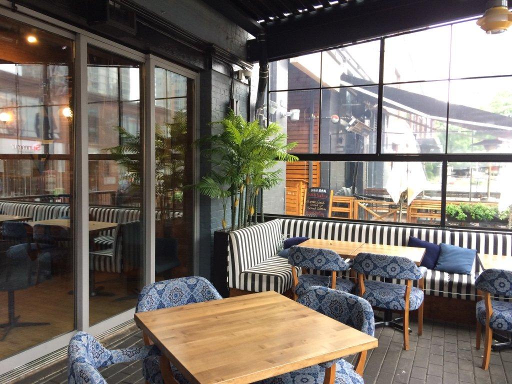 Tropical Palm Trough Restaurant Covered Patio Greenscape Design Decor