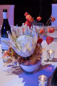 Large white protea live florals arrangement for the good and evil Star Wars Themed Event