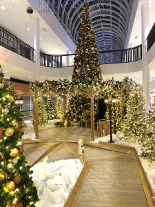 Shopping Centre Santa set featuring 30 foot tall tree, boardwalk walkway, emerald copper and gold decor with gold gazebo
