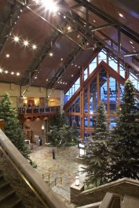 Large scale evergreen trees in River Rock Casino and Resort lobby