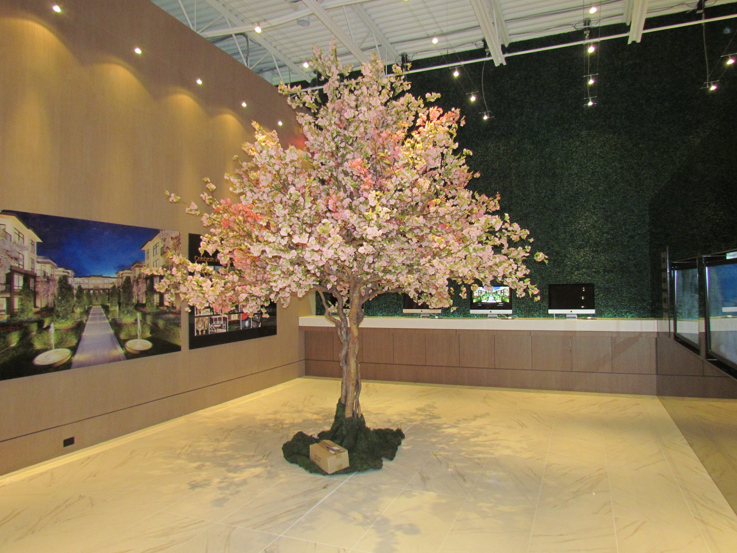 Cherry Blossom Tree on natural wood trunk, custom and modular to come apart for presentation centre