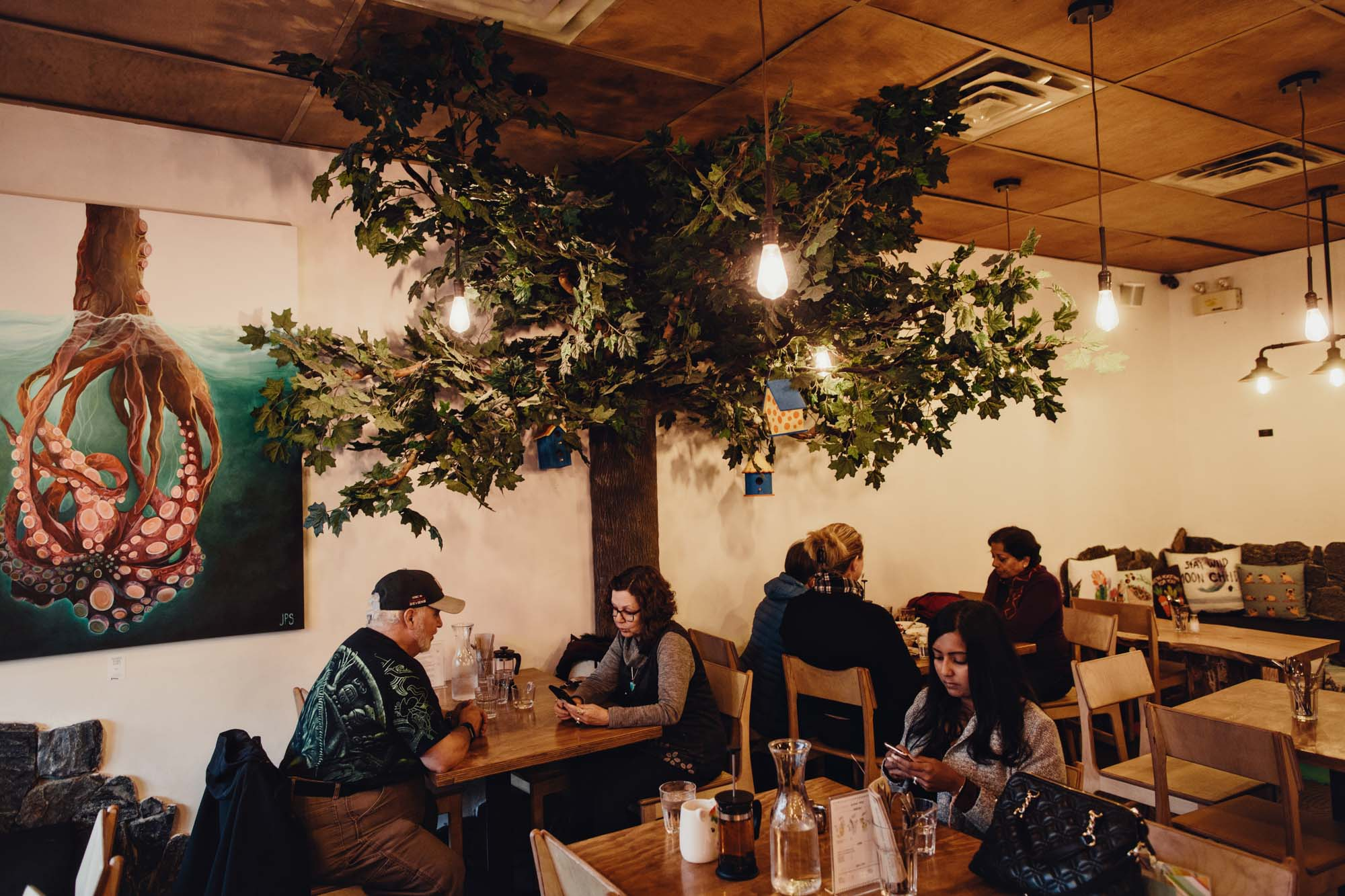 Cutom half tree against wall, epoxy sculpted trunk with maple foliage for Restaurant decor
