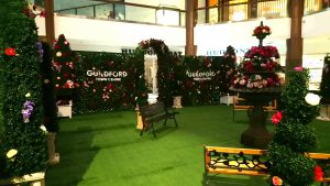 secret garden promotional event activation at Guildford Town Centre with turf ground cover, boxwood topiaries and lattice walls with greenery and flowers