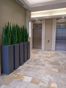 Aluminum tower planters, custom size with artificial sansevieria or snake plant in office lobby in New Westminster
