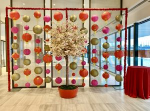 Chinese lantern backdrop, red and gold with cherry blossom tree