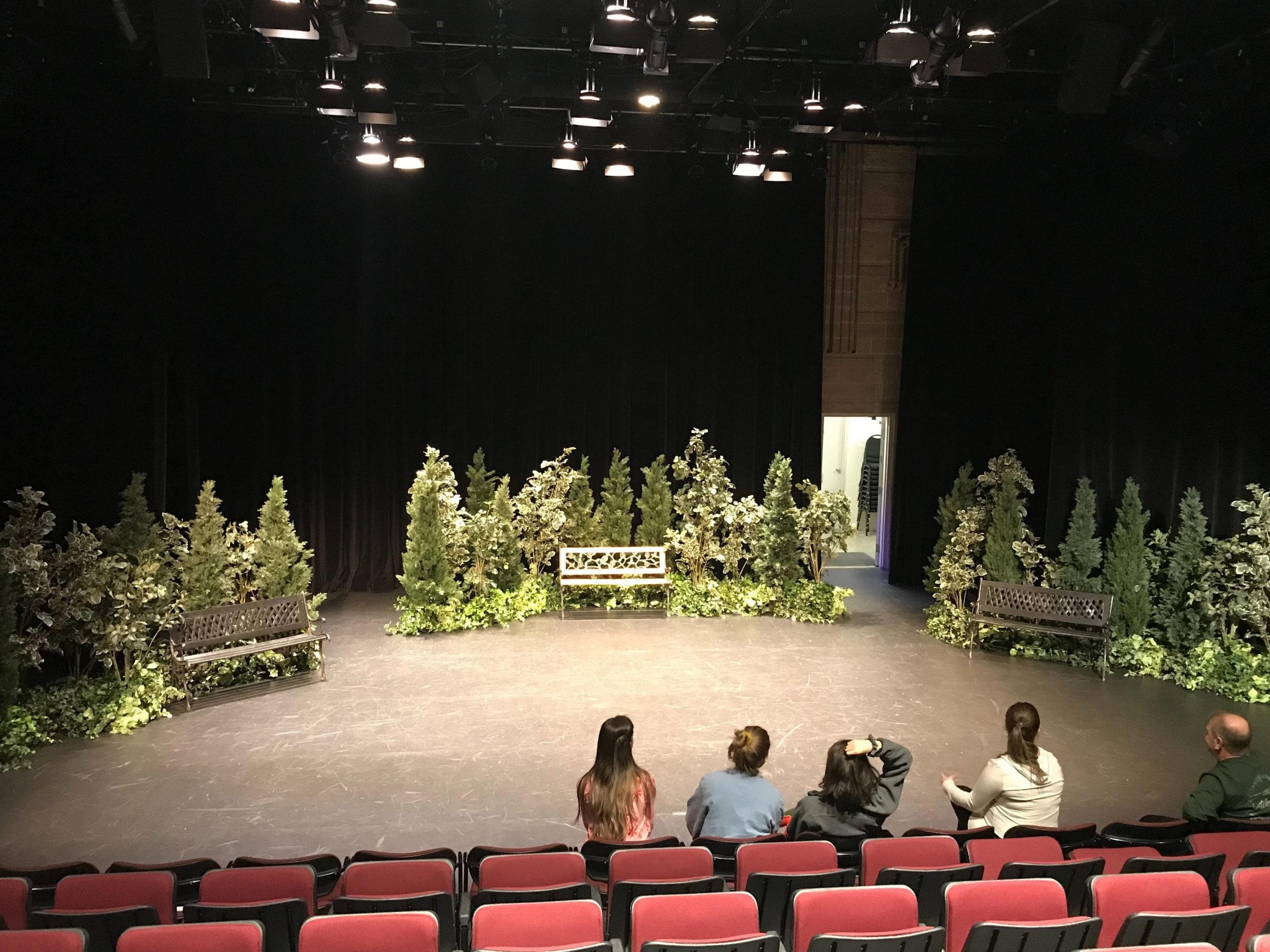 West coast greenery and cedar topiary hedges with park benches for a theatre production stage backdrop