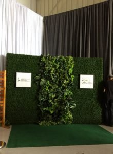 Two boxwood hedges with one accent artificial green wall in the centre, and event signage as step and repeat photo opportunity