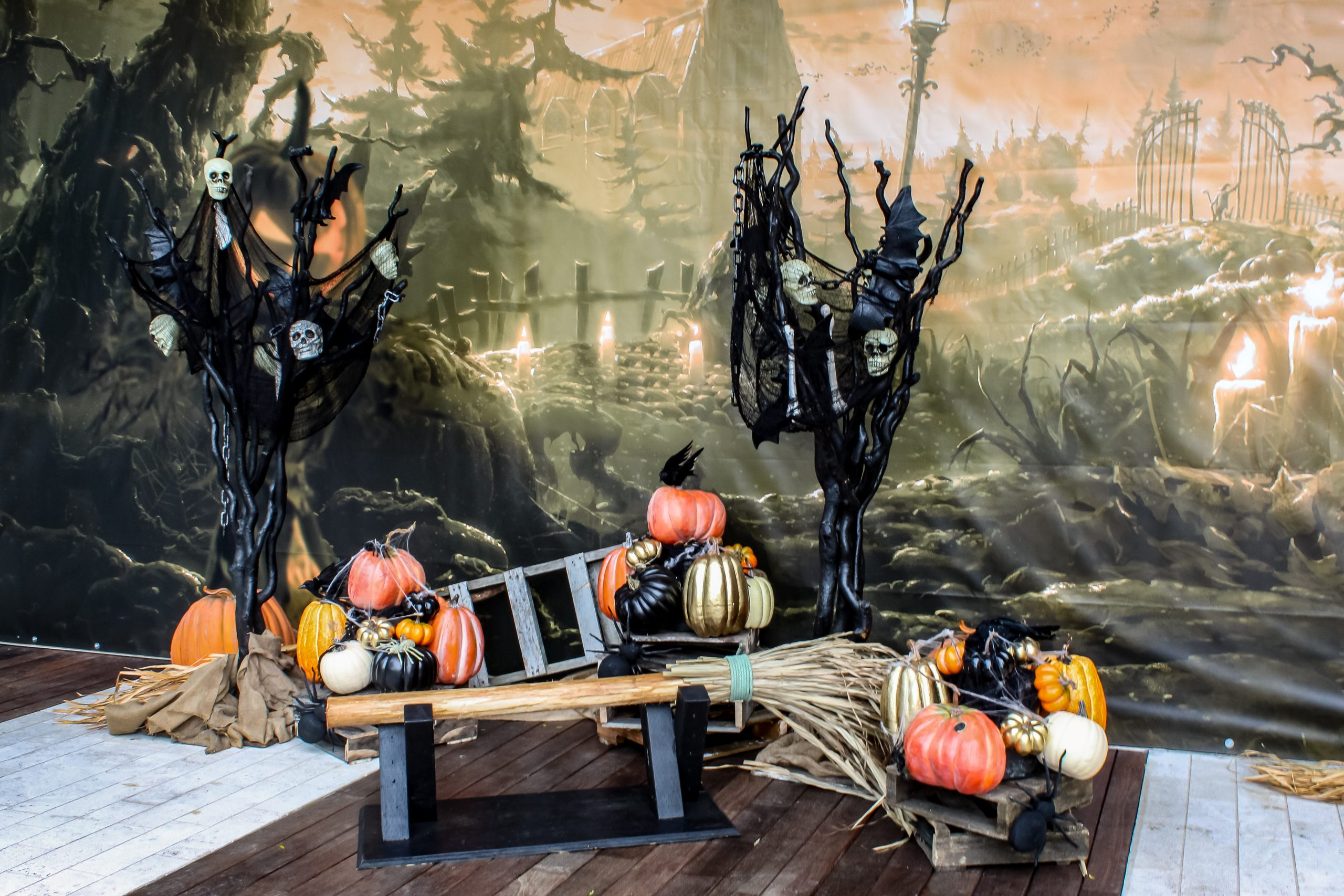 Halloween photo backdrop with oversized witches broom bench, pumpkins and spooky trees
