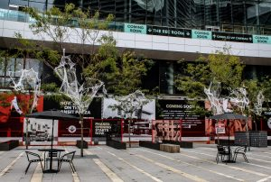 Outdoor live trees dressed in halloween cobwebs, bats, spiders and ghouls
