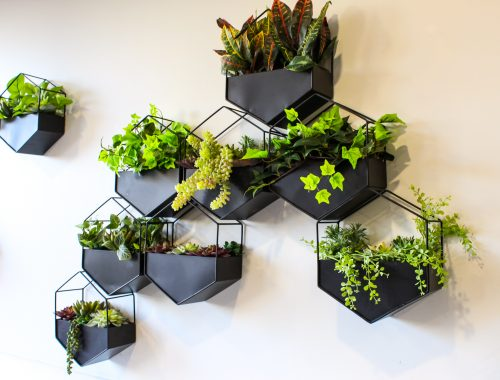 close up of black hexagon planters with various artificial greenery
