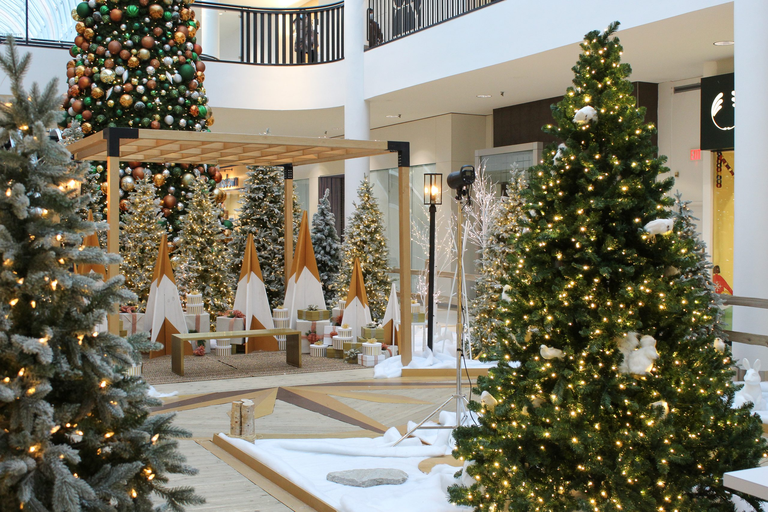 holiday walk through experience, white and gold a-frame clip together trees with flocked christmas tree forest