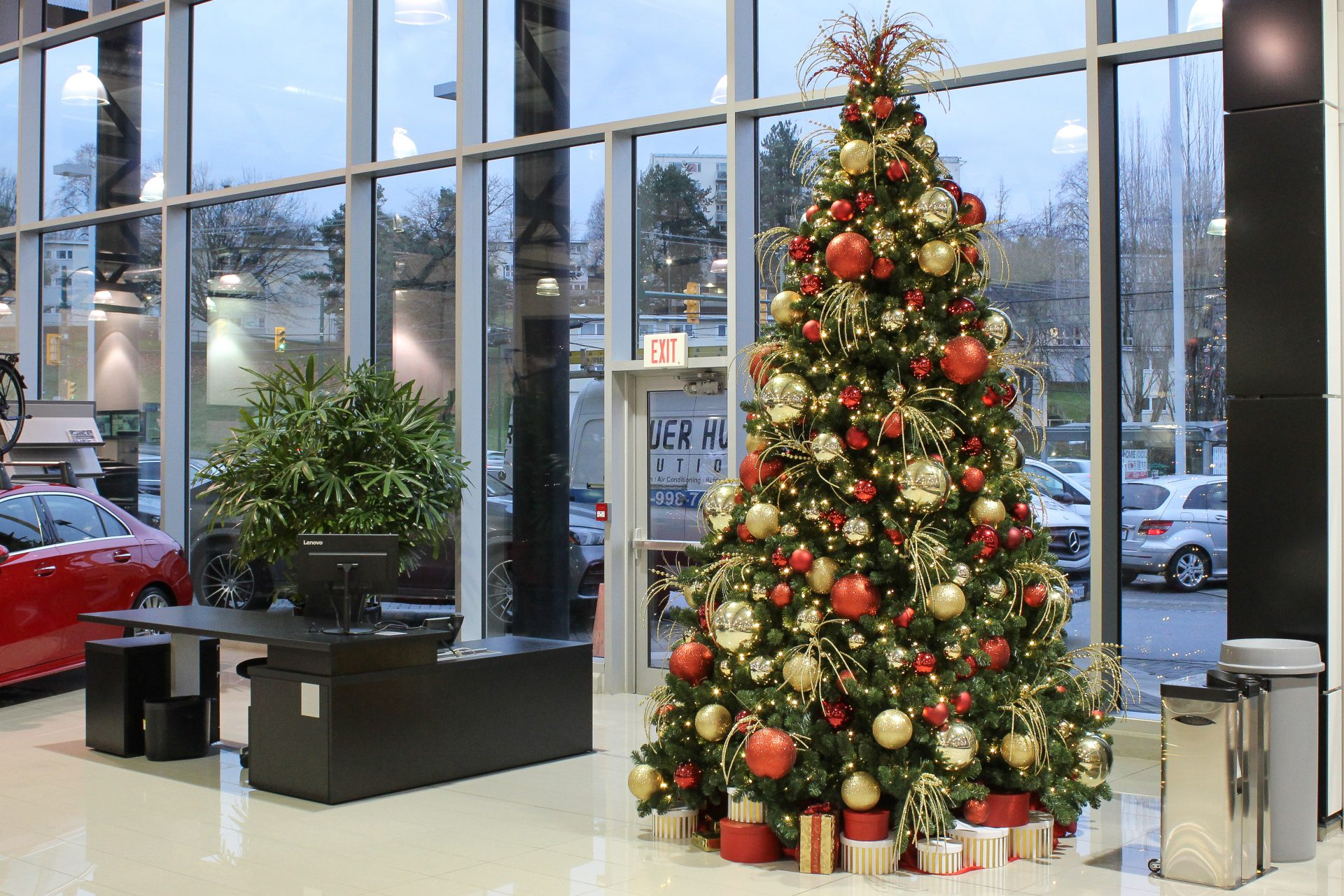 traditional red and gold 12' tall christmas tree in mercedes car dealership