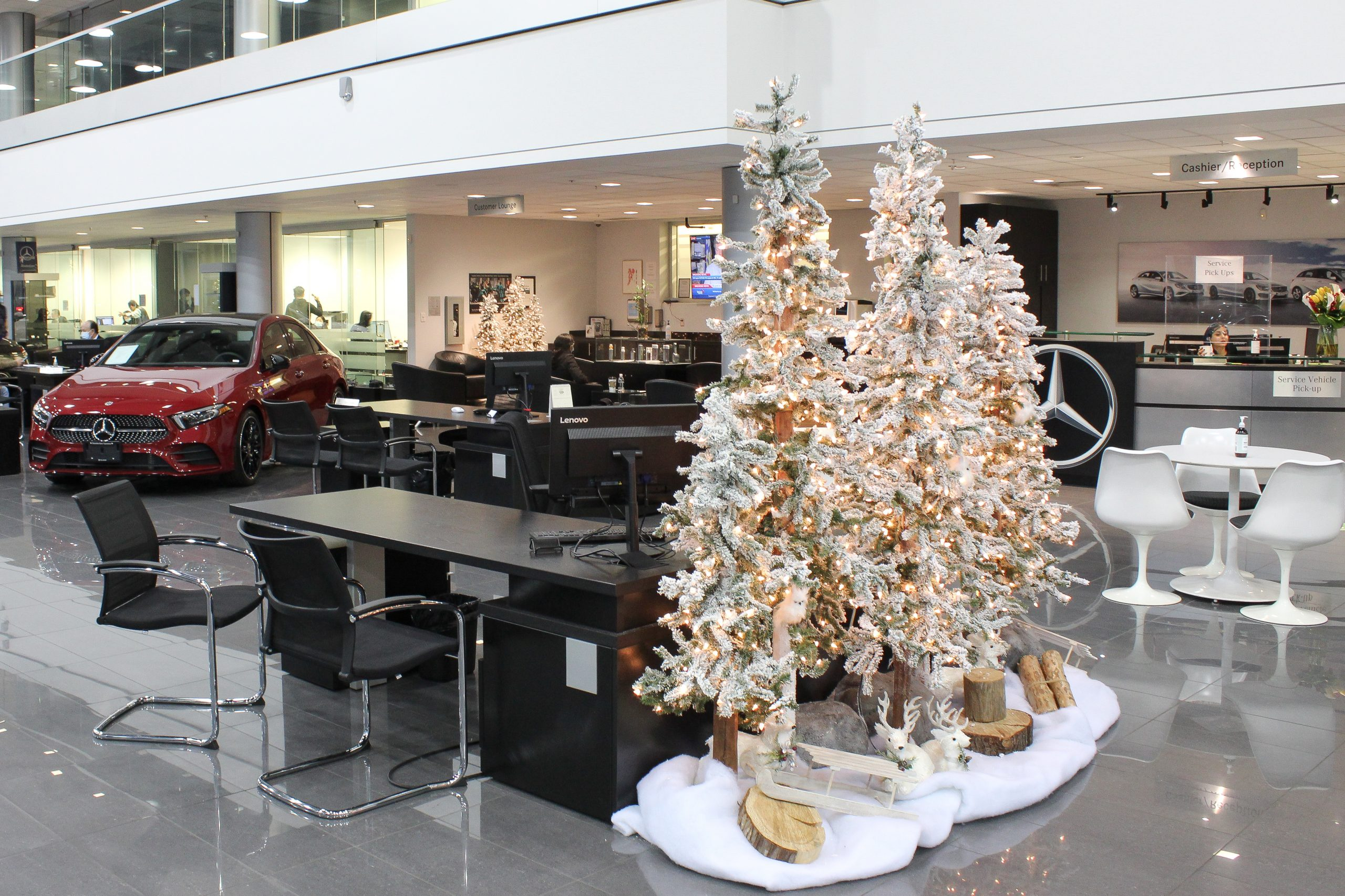wintery flocked alpine tree vignettes with snow blanket base in car dealership