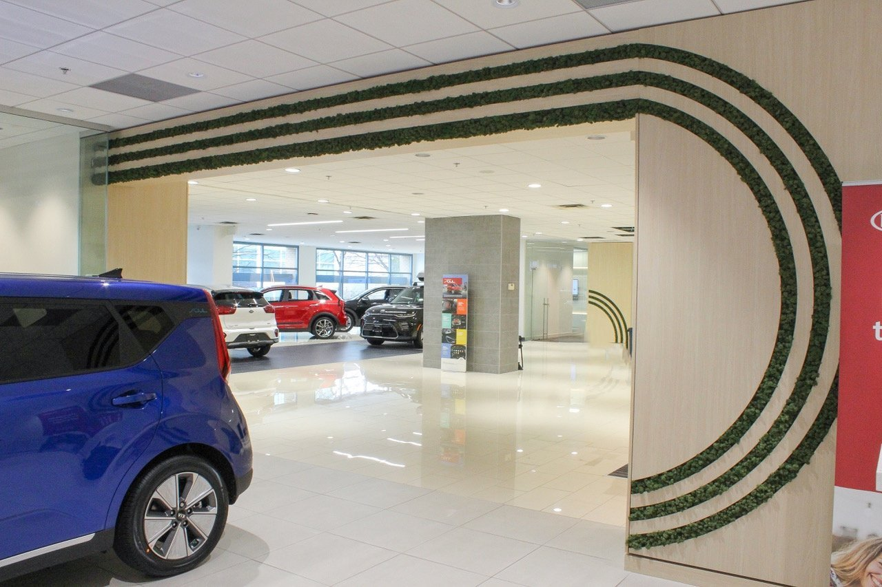 curved preserved moss millwork detailing in Kia car dealership with smaller detailing in background