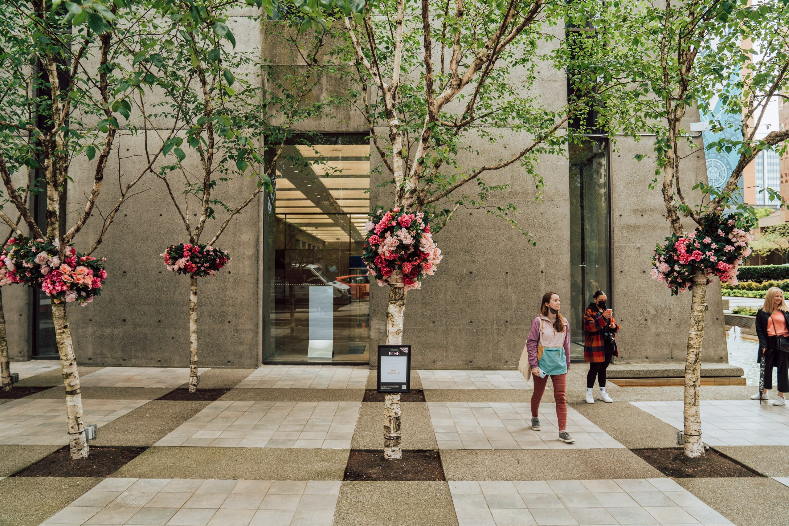 pink live floral corsages for birch tree grove in downtown Vancouver